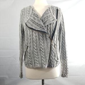 TULLE ANTHROPOLOGIE Gray Moto Sweater  Sz L